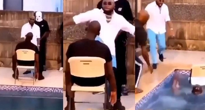 Davido scared as the man he kicked nearly drown in the pool